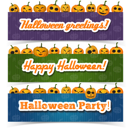 Greeting Happy Halloween horizontal banners with inscriptions and pumpkins with different emotions on colorful backgrounds vector illustration