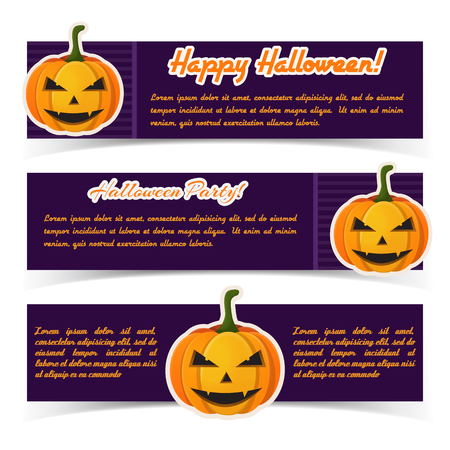 Abstract Halloween greeting horizontal banners with calligraphic inscriptions and paper scary pumpkins on purple background vector illustration