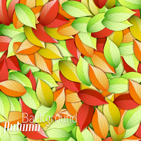 Natural autumn light foliage background with bright green red and orange falling beautiful leaves vector illustration