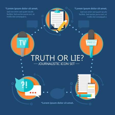 Mass media news infographic template with journalistic icons in flat style on blue background vector illustration Illustration