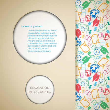 Back to school background with paper cut circles text and colorful school icons pattern vector illustration