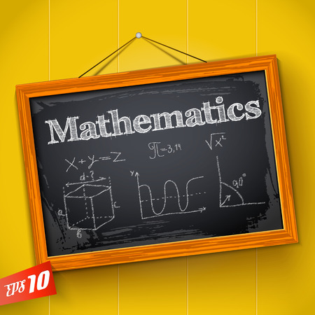 Hand drawn lettering mathematics equation and graph on chalkboard with wooden frame on yellow background vector illustration Ilustração