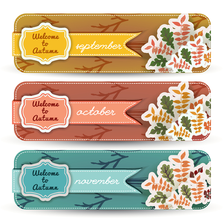 Welcome to autumn banners set with figured frames and ribbons branches and leaves isolated vector illustration Иллюстрация