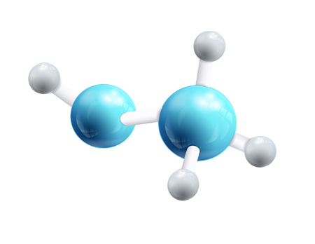 Structural chemical formula object and model of 3d molecule consisting of blue and white atoms joined by the small elements isolated vector illustration