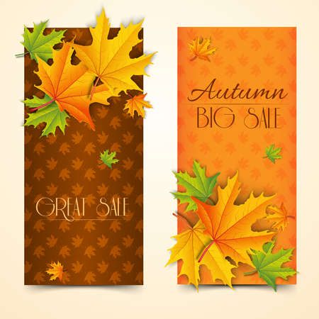 Seasonal autumn sale vertical banners with inscriptions and realistic colorful maple leaves on foliage background vector illustration