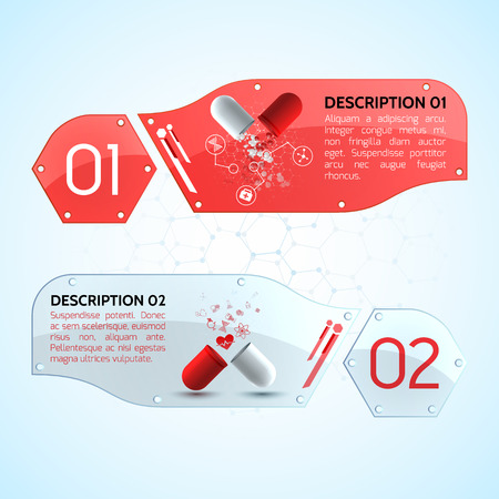 Pills horizontal banners set with medicine symbols realistic isolated vector illustration