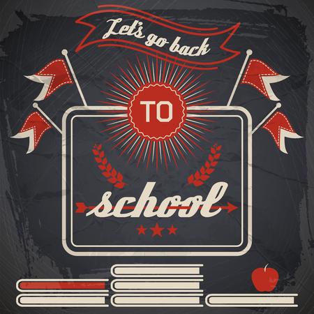 School retro poster with inscription frame flags books apple ribbon on dark vintage background vector illustration Illustration