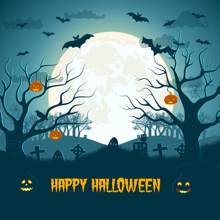 Happy halloween composition with huge moon cemetery and trees animals lanterns of jack vector illustration