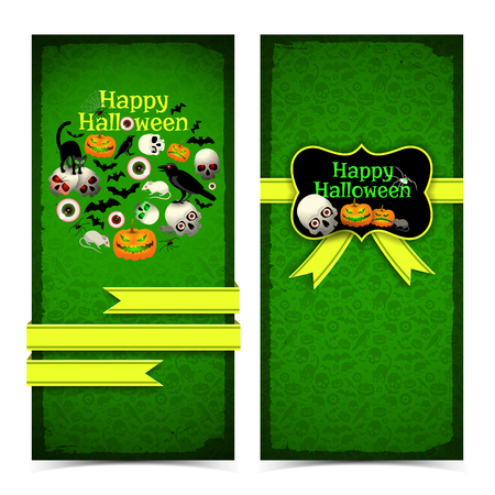 Vertical banners with halloween greeting compositions and yellow ribbons on green textured background isolated vector illustration