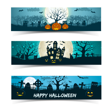 Set of halloween banners with haunted house cemetery lanterns of jack on moon background isolated vector illustration  イラスト・ベクター素材