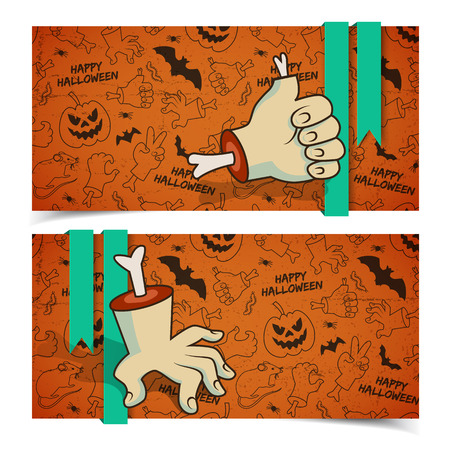 Halloween greeting horizontal banners with zombie arms bones ribbons and traditional icons background vector illustration