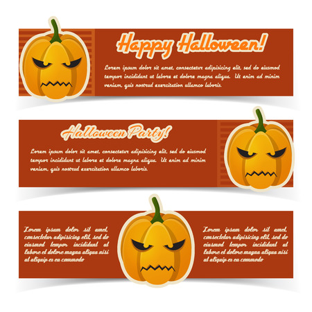 Abstract Happy Halloween horizontal banners with text and paper evil pumpkins on red striped background vector illustration