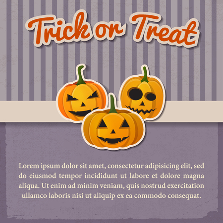 Greeting Halloween vintage template with paper inscription and traditional pumpkins with different emotions vector illustration