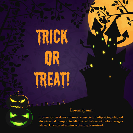 Happy Halloween scary template with haunted house evil pumpkins and tree branches on purple moon background vector illustration