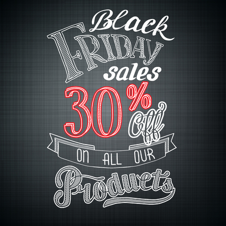 Typographic Black Friday announcement with advertising text and percent rate on dark background vector illustration Ilustración de vector