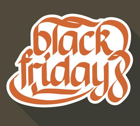 Plantilla de etiqueta promocional tipográfica con papel estilizado caligráfico inscripción de viernes negro aislado ilustración vectorial