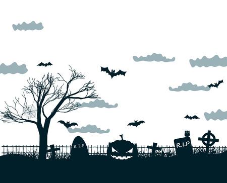 Halloween nacht achtergrond poster in zwarte, witte, grijze kleuren met donkere begraafplaats kruisen, dode boom, lachende pompoenen en vleermuizen op maan hemel vectorillustratie