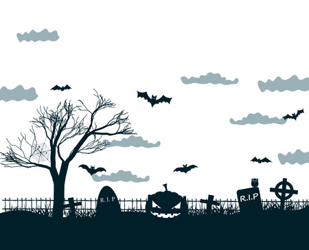 Halloween night background poster in black, white, grey colors with dark cemetery crosses, dead tree, smiling pumpkins and bats at lunar sky vector illustration
