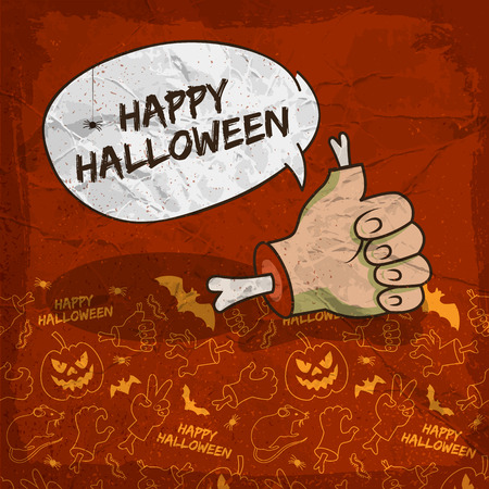 Creepy Halloween poster with speech cloud zombie arm and traditional line icons background vector illustration Vector Illustration