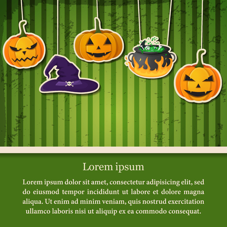 Greeting Halloween party abstract poster with paper hanging pumpkins witch hat and cauldron on green striped background vector illustration Stock Illustratie