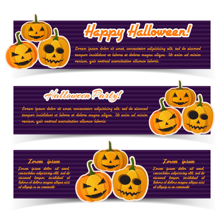 Festive Halloween holiday horizontal banners with text and paper traditional scary pumpkins on purple striped background vector illustration