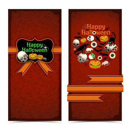 Happy halloween banners with orange ribbons greeting card holiday symbols on red textured background isolated vector illustration Illusztráció