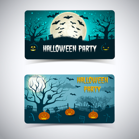 Halloween party horizontal banners with lanterns of jack trees cemetery on night sky background isolated vector illustration  イラスト・ベクター素材