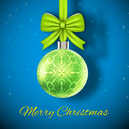 Glowing green christmas ball on blue background with dark corners and snowflakes flat vector illustration