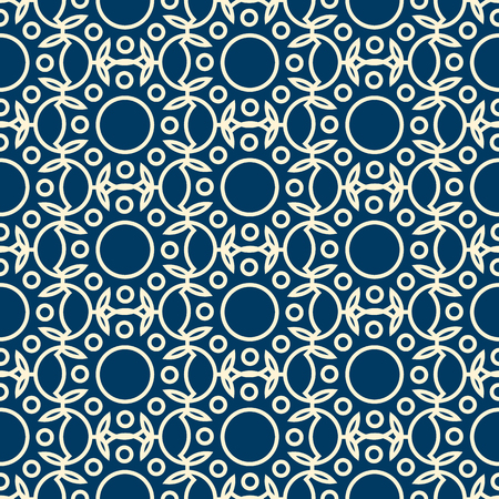Abstract dichromatic seamless pattern formed by modern geometric ornate with rounds and leaves flat vector illustration