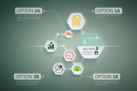 Stylish business design concept with types of option and solutions they depend from each other vector illustration