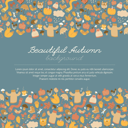Autumn background in doodle style with seamless isolated images of autumn leaves fruits mushrooms clothes and animals vector illustration Illustration