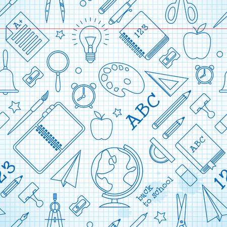 Educación de patrones sin fisuras con útiles escolares en la hoja de papel en la ilustración de vector de estilo dibujado a mano