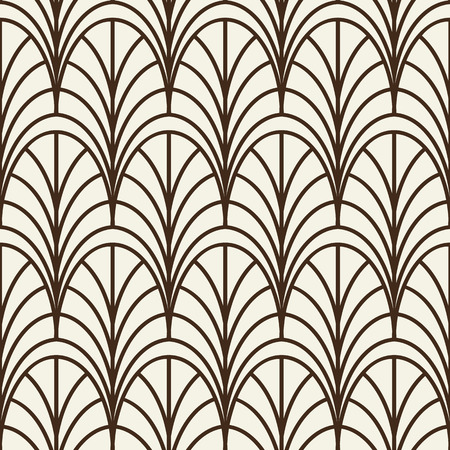 Monochrome seamless line pattern similar to decorative trellis with repeating arches or petals flat vector Illustration Illustration