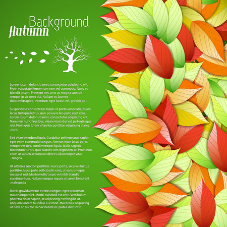 Botanical light autumn poster with text and colorful elegant falling leaves on green background vector illustration Illustration