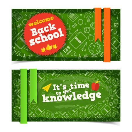 School horizontal banners with sticker ribbons and line supplies icons on green background isolated vector illustration Standard-Bild - 110315671
