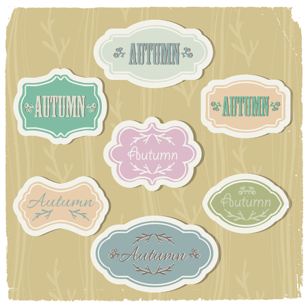 Set of vintage frames of pastel colors with autumn elements on beige textured background isolated vector illustration Illustration