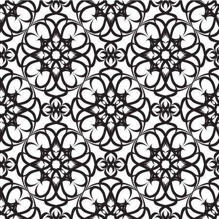 Abstract minimalistic monochrome seamless pattern with repeating traceries in ornate style vector illustration