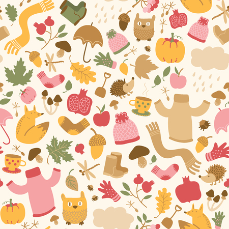 Autumn seamless pattern with decorative doodle style images of faded leaves animals food clothes and insects vector illustration