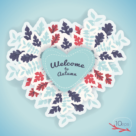Welcome to autumn composition with various leaves around frame in heart shape on blue background vector illustration