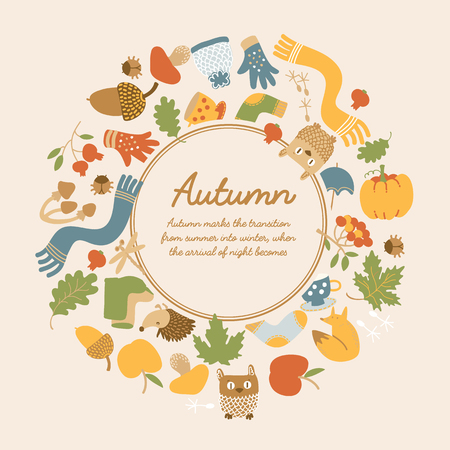 Abstract seasonal decorative light template with text in round frame and colorful autumn icons