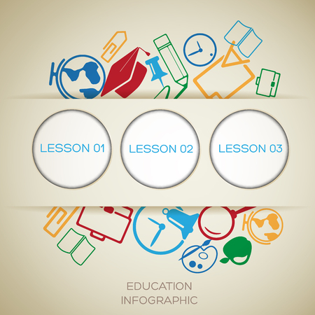 Learning infographic concept with place for text cut paper circles and colorful icons vector illustration 向量圖像