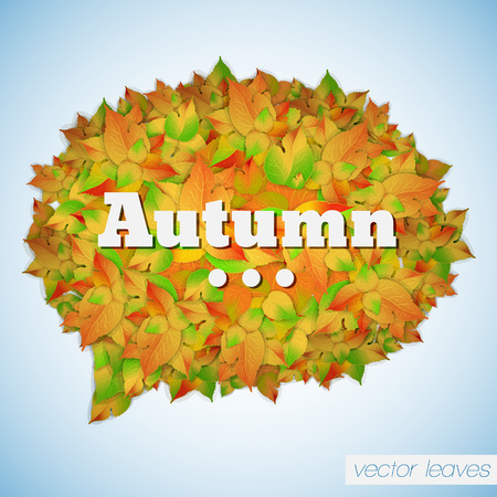 Abstract foliage autumn poster with leaves in shape of speech cloud on light background isolated vector illustration
