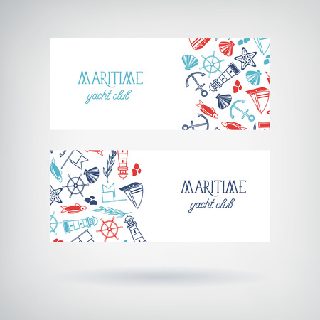Vector set of two yacht club banners with information about the name of club and many maritime objects such as coquille, seaweed, stones and flags on the white background vector illustration Stock Illustratie