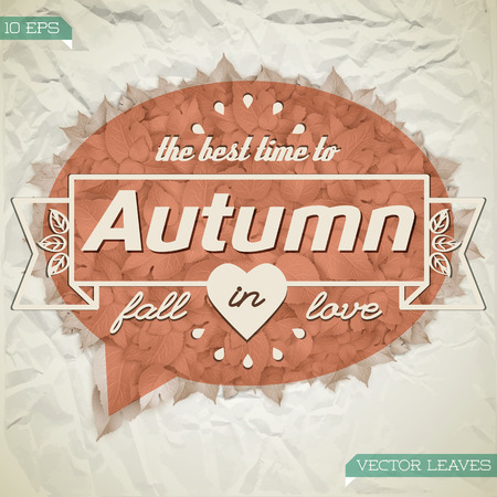 Abstract autumn floral poster with text and leaves in red cloud shape on crumpled paper background vector illustration