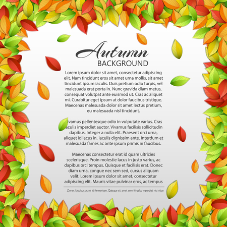 Light autumn floral template with text and colorful falling elm leaves on white background vector illustration 일러스트