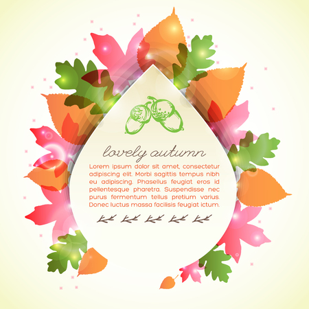 Lovely autumn greeting letter in drop shape with glowing transparent leaves on pale yellow background vector illustration
