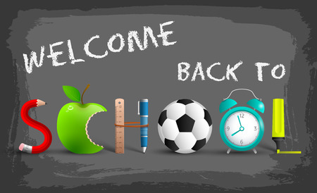 Stylish back to school background with inscriptions and applications of items in the form of letters