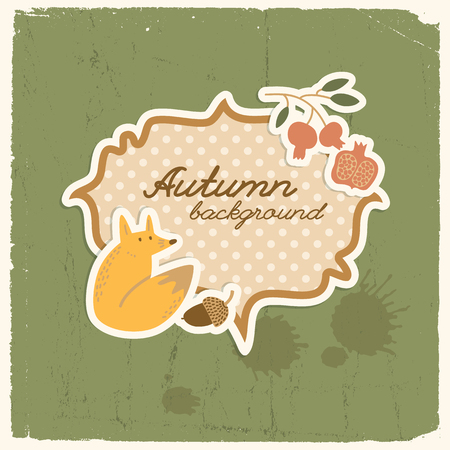 Autumn background with doodle style composition of seamless images and abstract shape with text and polkadot overlay vector illustration