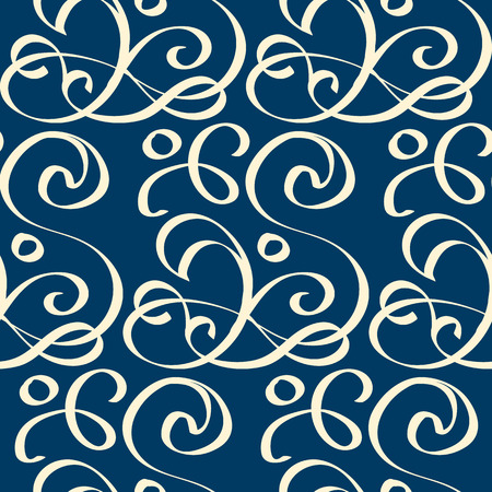Seamless pattern in retro style with print composed of white writhing ribbons on dark blue background flat vector illustration
