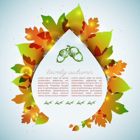 Autumn decorative card in drop shape with colorful leaves on pale blue background with spots vector illustration